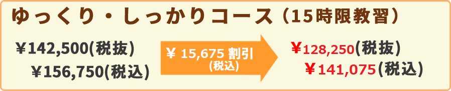 ゆっくり・しっかりコース(15時限教習)¥142,500(税抜)¥156,750(税込)¥47,025割引(税込)¥99,750(税抜)¥109,725(税込)
